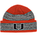 Front view of adidas Miami Hurricanes College Player Watch Knit Cap in Team Colors