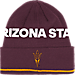 Front view of adidas Arizona State Sun Devils College Coach Cuffed Beanie Knit Hat in Team Colors