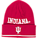 Front view of adidas Indiana Hoosiers College Coach Cuffed Beanie Knit Hat in Team Colors