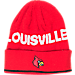 Front view of adidas Louisville Cardinals College Coach Cuffed Beanie Knit Hat in Team Colors
