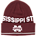 Front view of adidas Mississippi State Bulldogs College Coach Cuffed Beanie Knit Hat in Team Colors