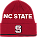 Front view of adidas NC State Wolfpack College Coach Cuffed Beanie Knit Hat in Team Colors