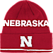 Front view of adidas Nebraska Cornhuskers College Coach Cuffed Beanie Knit Hat in Team Colors