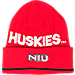 Front view of adidas Northern Illinois Huskies College Coach Cuffed Beanie Knit Hat in Team Colors