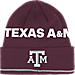 Front view of adidas Texas A & M Aggies College Coach Cuffed Beanie Knit Hat in Team Colors