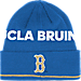 Front view of adidas UCLA Bruins College Coach Cuffed Beanie Knit Hat in Team Colors