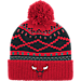 Front view of adidas Chicago Bulls NBA Diamond Cuffed Pom Knit Hat in Team Colors