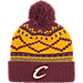 Front view of adidas Cleveland Cavaliers NBA Diamond Cuffed Pom Knit Hat in Team Colors