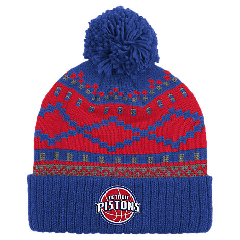 adidas Detroit Pistons NBA Diamond Cuffed Pom Knit Hat