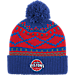 Front view of adidas Detroit Pistons NBA Diamond Cuffed Pom Knit Hat in Team Colors