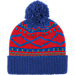 Back view of adidas Detroit Pistons NBA Diamond Cuffed Pom Knit Hat in Team Colors