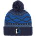 Front view of adidas Dallas Mavericks NBA Diamond Cuffed Pom Knit Hat in Team Colors