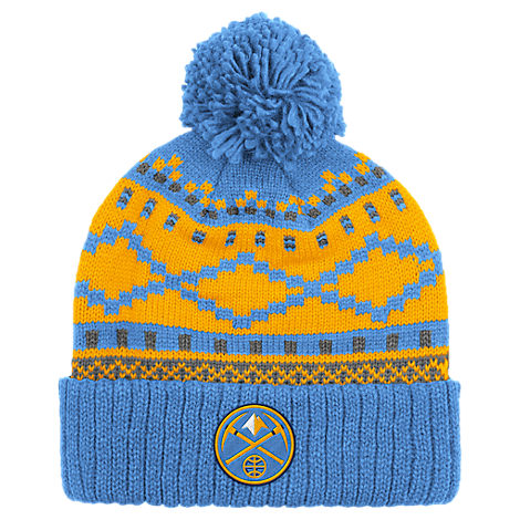 adidas Denver Nuggets NBA Diamond Cuffed Pom Knit Hat
