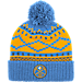 Front view of adidas Denver Nuggets NBA Diamond Cuffed Pom Knit Hat in Team Colors