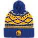 Front view of adidas Golden State Warriors NBA Diamond Cuffed Pom Knit Hat in Team Colors