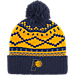 Front view of adidas Indiana Pacers NBA Diamond Cuffed Pom Knit Hat in Team Colors