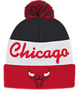adidas Chicago Bulls NBA Script Cuffed Pom Knit Hat