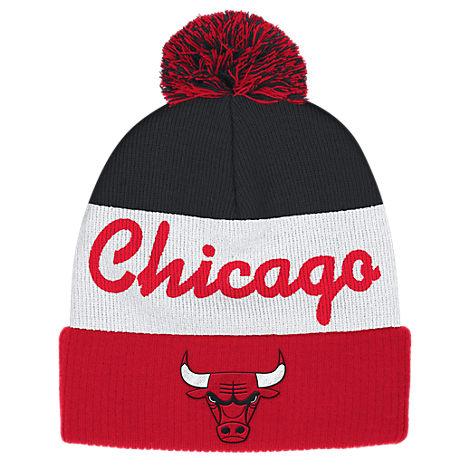 adidas Chicago Bulls NBA Script Cuffed Pom Knit Hat
