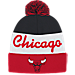 Front view of adidas Chicago Bulls NBA Script Cuffed Pom Knit Hat in Team Colors
