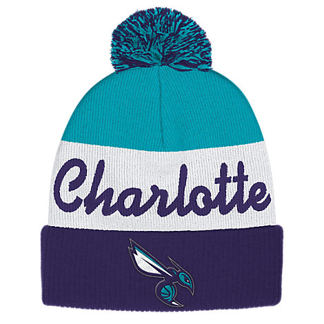 adidas Charlotte Hornets NBA Script Cuffed Pom Knit Hat