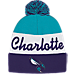 Front view of adidas Charlotte Hornets NBA Script Cuffed Pom Knit Hat in Team Colors