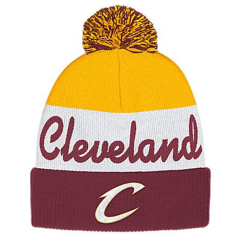 adidas Cleveland Cavaliers NBA Script Cuffed Pom Knit Hat