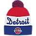 Front view of adidas Detroit Pistons NBA Script Cuffed Pom Knit Hat in Team Colors