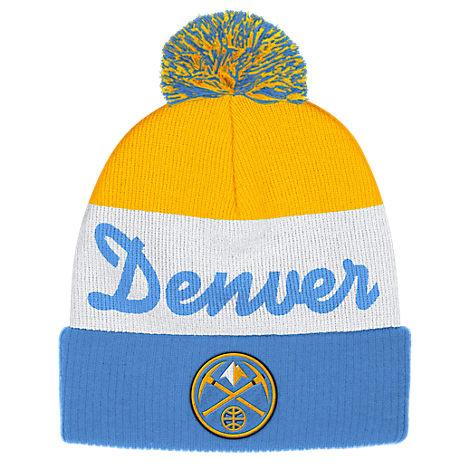adidas Denver Nuggets NBA Script Cuffed Pom Knit Hat
