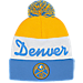 Front view of adidas Denver Nuggets NBA Script Cuffed Pom Knit Hat in Team Colors