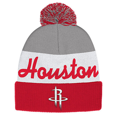 adidas Houston Rockets NBA Script Cuffed Pom Knit Hat