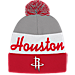 Front view of adidas Houston Rockets NBA Script Cuffed Pom Knit Hat in Team Colors