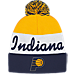 Front view of adidas Indiana Pacer NBA Script Cuffed Pom Knit Hat in Team Colors