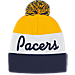 Back view of adidas Indiana Pacer NBA Script Cuffed Pom Knit Hat in Team Colors