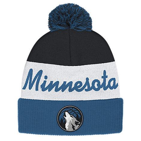 adidas Minnesota Timberwolves NBA Script Cuffed Pom Knit Hat