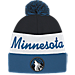Front view of adidas Minnesota Timberwolves NBA Script Cuffed Pom Knit Hat in Team Colors