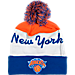 Front view of adidas New York Knicks NBA Script Cuffed Pom Knit Hat in Team Colors