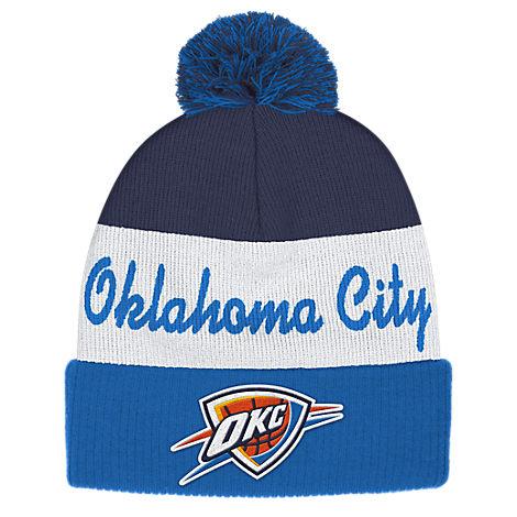 adidas Oklahoma City Thunder NBA Script Cuffed Pom Knit Hat