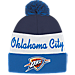 Front view of adidas Oklahoma City Thunder NBA Script Cuffed Pom Knit Hat in Team Colors