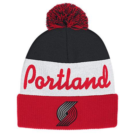 adidas Portland Trail Blazers NBA Script Cuffed Pom Knit Hat