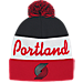 Front view of adidas Portland Trail Blazers NBA Script Cuffed Pom Knit Hat in Team Colors