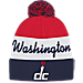 Front view of adidas Washington Wizards NBA Script Cuffed Pom Knit Hat in Team Colors