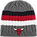 Front view of adidas Chicago Bulls NBA Striped Knit Beanie in MTC