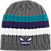 Front view of adidas Charlotte Hornets NBA Striped Knit Beanie in Team Colors