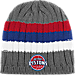 Front view of adidas Detroit Pistons NBA Striped Knit Beanie in MTC