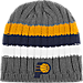 Front view of adidas Indiana Pacer NBA Striped Knit Beanie in MTC