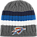 Front view of adidas Oklahoma City Thunder NBA Striped Knit Beanie in Team Colors