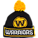 Front view of adidas Golden State Warriors NBA Oversized Team Logo Knit Hat in Team Colors