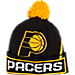 Front view of adidas Indiana Pacers NBA Oversized Team Logo Knit Hat in Team Colors