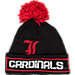 Front view of adidas Louisville Cardinals College Oversized Logo Knit Hat in BTE