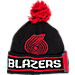 Front view of adidas Portland Trail Blazers NBA Oversized Team Logo Knit Hat in Team Colors